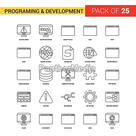 programming and developement black line icon
