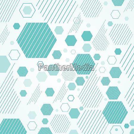 abstraktes mechanisches schema blaue geometrische sechsecke