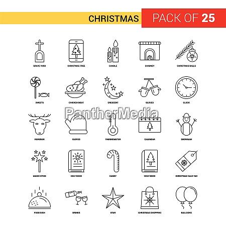 weihnachten schwarze linie icon 25