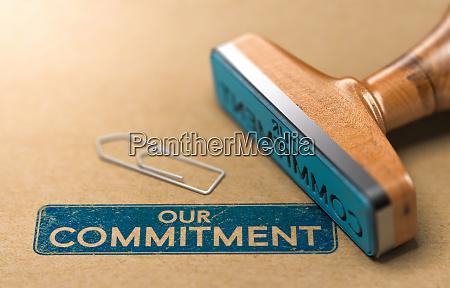 unser engagement gummistempel konzept