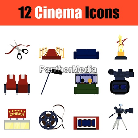 cinema icon set color design
