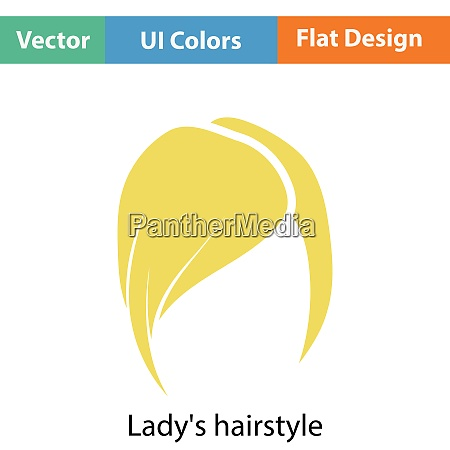 ladyrsquos hairstyle icon flat color design