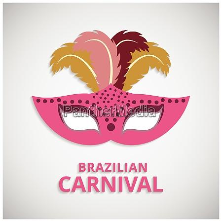 gluecklicher brasilianischer karnevalstag pink karnevalsmaske und