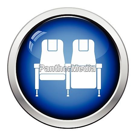 cinema seats icon glossy button design