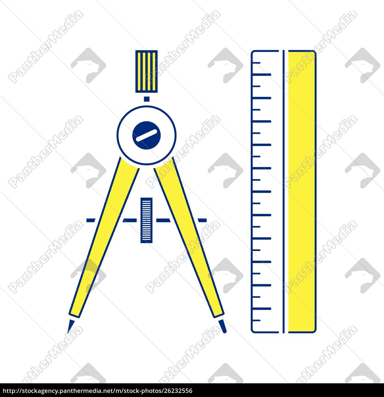 flaches, design-symbol, von, kompassen, und, skala - 26232556