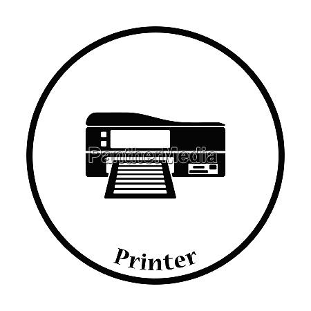 printer icon flat color design vector
