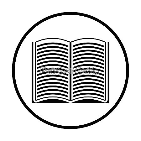 open book icon thin circle design