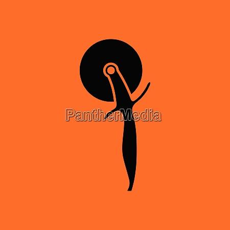 pizza roll knife icon orange background