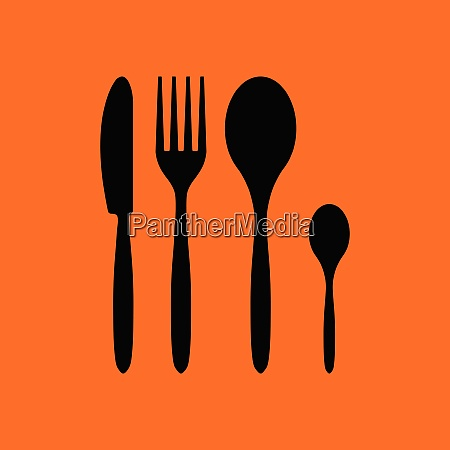 silverware set icon orange background with