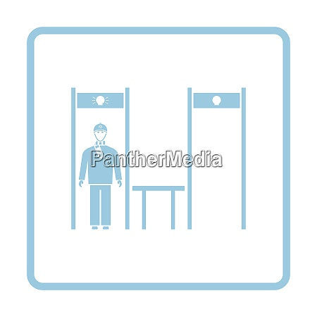 stadium metal detector frame with inspecting