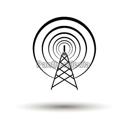 radioantenne ikone weisser hintergrund mit schattendesign
