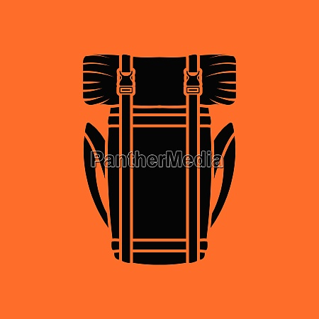 camping backpack icon orange background with