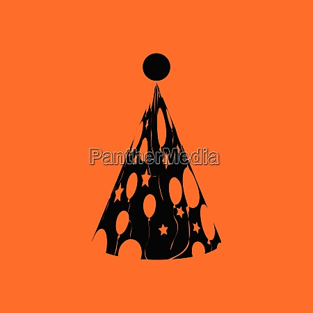 party cone hat icon orange background
