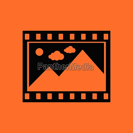 film frame icon orange background with