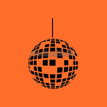 party disco sphere icon orange background