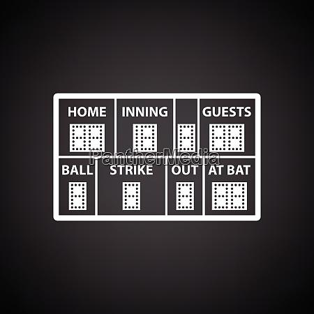 baseball anzeigetafel symbol schwarzer hintergrund mit