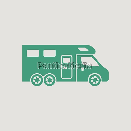 camping family caravan icon gray