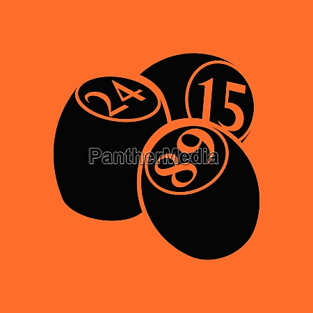 bingo kegs ikone orangefarbener hintergrund mit