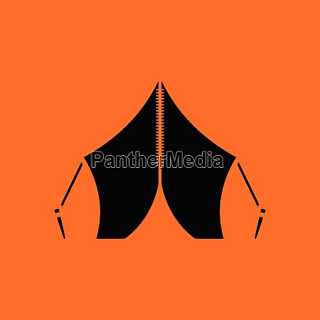 touristic tent icon orange background with