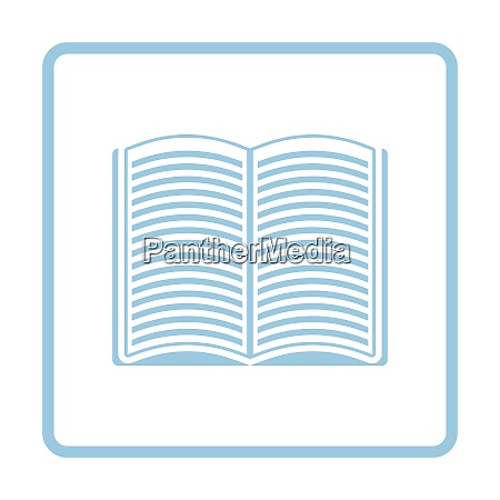 open book icon blue frame design