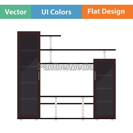 media furniture icon flat design vector