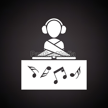 nachtclub dj symbol schwarzer hintergrund mit