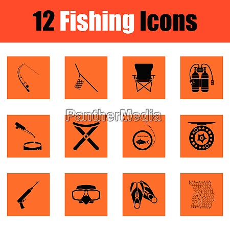 fishing icon set orange design vector