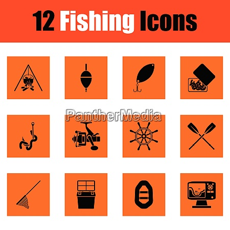 fishing icon set orange design vector