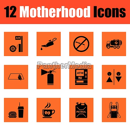 motherhood icon set orange design vector