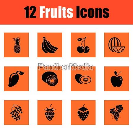 fruit icon set orange design vector