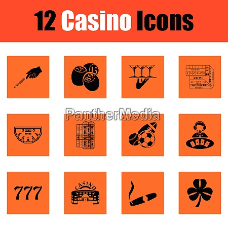 casino icon set orange design vector
