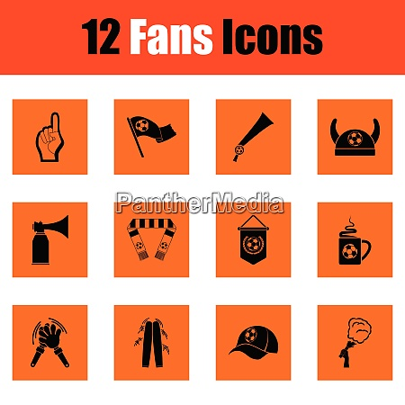 set of soccer fans icons set