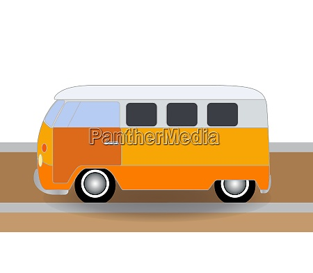 cartoon cheerful minibus which travels on
