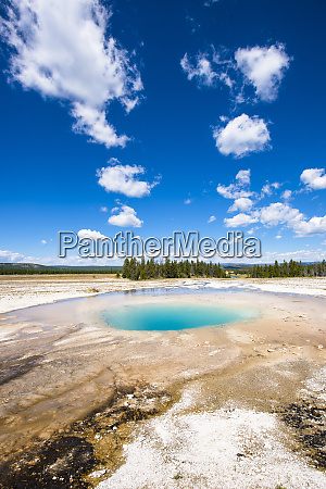 scenic view of opal pool yellowstone