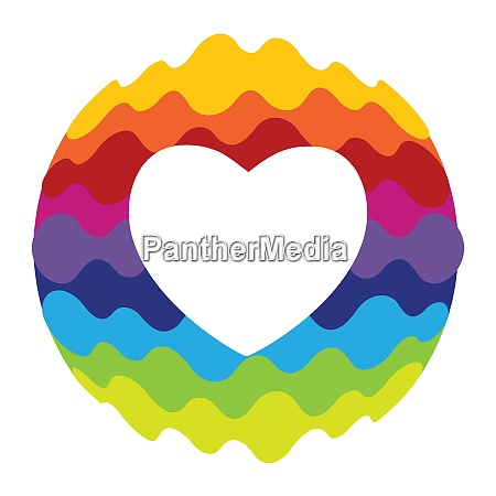 love heart rainbow color icon for