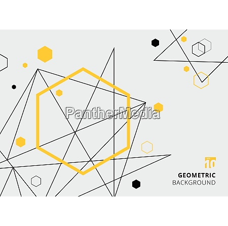 abstract yellow and black geometric hexagon