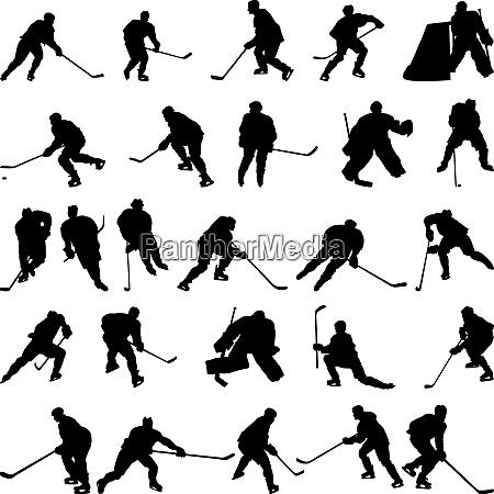 grosse sammlung von vektor eishockeyspieler silhouetten