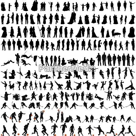 groesste sammlung von menschen silhouetten in