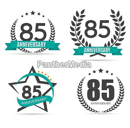 template logo 85 years anniversary set