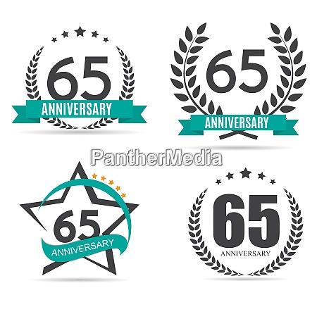 template logo 65 years anniversary set