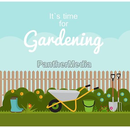 gartenarbeit flachgrund vector illustration garden tools