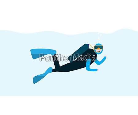 underwater people cartoon scuba diver