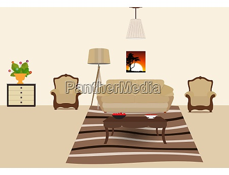 the room furnished with furniture modern
