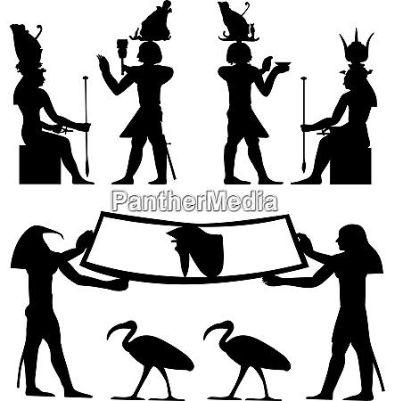 AEgyptische hieroglyphen und fresken vector illustration