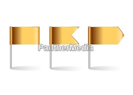 vector illustration of golden flags set