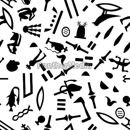 AEgyptisch nahtlos hieroglyphenen muster um nahtloses