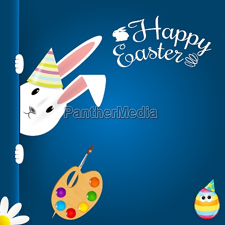 beautiful easter hare on blue background