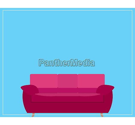 pink sofa icon on blue background
