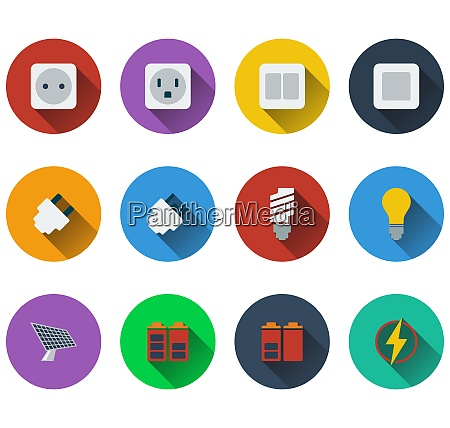 set of energy icons in flat