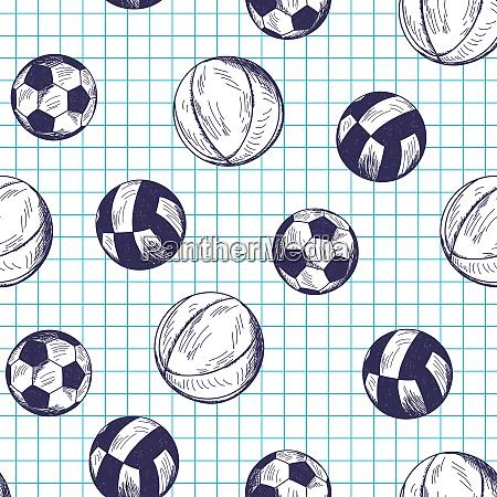 nahtloses muster mit handgezeichneten verschiedenen sportbaellen